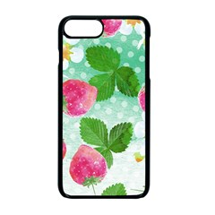 Cute Strawberries Pattern Apple Iphone 7 Plus Seamless Case (black)
