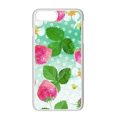 Cute Strawberries Pattern Apple Iphone 7 Plus White Seamless Case