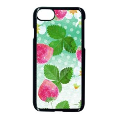 Cute Strawberries Pattern Apple Iphone 7 Seamless Case (black)