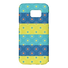 Hexagon And Stripes Pattern Samsung Galaxy S7 Edge Hardshell Case