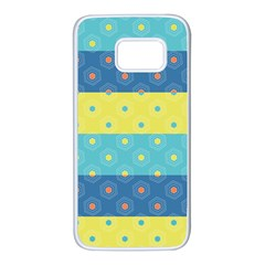 Hexagon And Stripes Pattern Samsung Galaxy S7 White Seamless Case