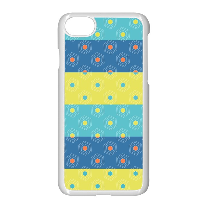 Hexagon And Stripes Pattern Apple iPhone 7 Seamless Case (White)