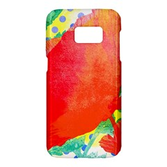 Lovely Red Poppy And Blue Dots Samsung Galaxy S7 Hardshell Case