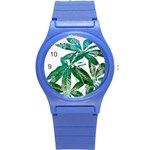 Pachira Leaves  Round Plastic Sport Watch (S) Front