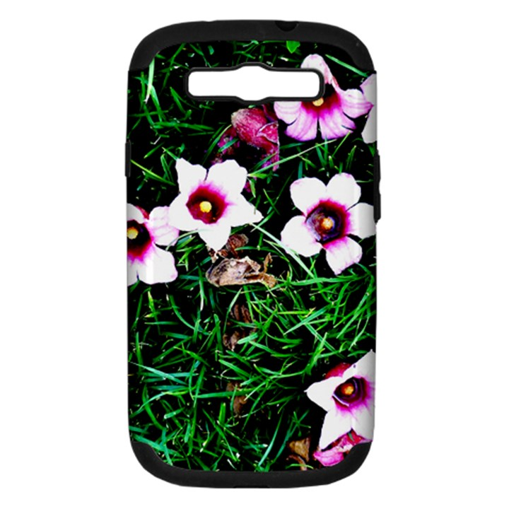Pink Flowers Over A Green Grass Samsung Galaxy S III Hardshell Case (PC+Silicone)