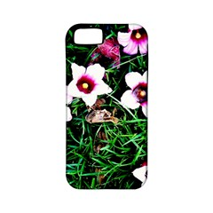 Pink Flowers Over A Green Grass Apple Iphone 5 Classic Hardshell Case (pc+silicone)