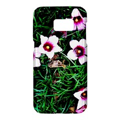 Pink Flowers Over A Green Grass Samsung Galaxy S7 Hardshell Case