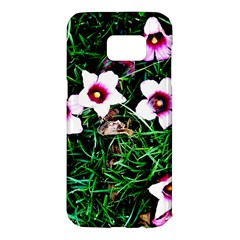 Pink Flowers Over A Green Grass Samsung Galaxy S7 Edge Hardshell Case