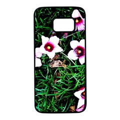 Pink Flowers Over A Green Grass Samsung Galaxy S7 Black Seamless Case