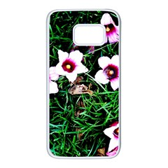 Pink Flowers Over A Green Grass Samsung Galaxy S7 White Seamless Case