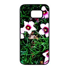Pink Flowers Over A Green Grass Samsung Galaxy S7 edge Black Seamless Case