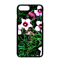 Pink Flowers Over A Green Grass Apple Iphone 7 Plus Seamless Case (black)