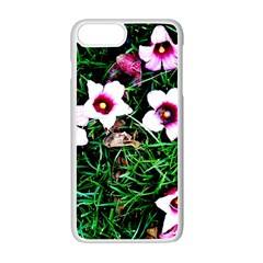 Pink Flowers Over A Green Grass Apple Iphone 7 Plus White Seamless Case
