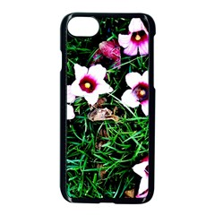 Pink Flowers Over A Green Grass Apple Iphone 7 Seamless Case (black)