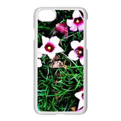 Pink Flowers Over A Green Grass Apple Iphone 7 Seamless Case (white)