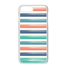 Summer Mood Striped Pattern Apple Iphone 7 Plus White Seamless Case