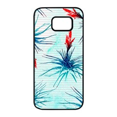 Tillansia Flowers Pattern Samsung Galaxy S7 Edge Black Seamless Case
