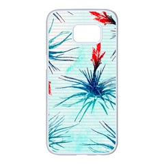Tillansia Flowers Pattern Samsung Galaxy S7 edge White Seamless Case