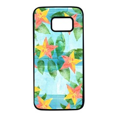 Tropical Starfruit Pattern Samsung Galaxy S7 Black Seamless Case