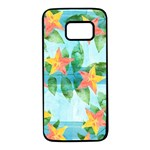 Tropical Starfruit Pattern Samsung Galaxy S7 Black Seamless Case Front