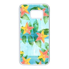 Tropical Starfruit Pattern Samsung Galaxy S7 White Seamless Case