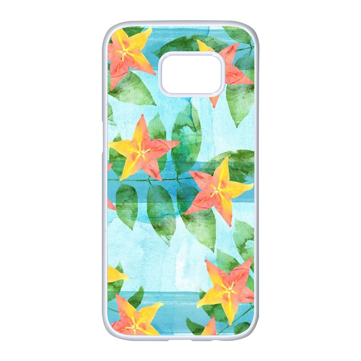Tropical Starfruit Pattern Samsung Galaxy S7 edge White Seamless Case
