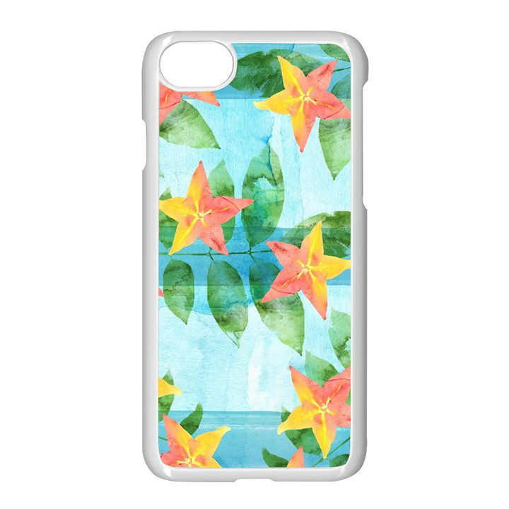 Tropical Starfruit Pattern Apple iPhone 7 Seamless Case (White)