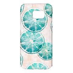 Turquoise Citrus And Dots Samsung Galaxy S7 Edge Hardshell Case