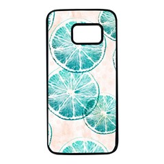 Turquoise Citrus And Dots Samsung Galaxy S7 Black Seamless Case