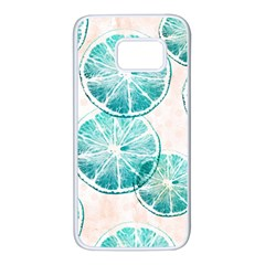 Turquoise Citrus And Dots Samsung Galaxy S7 White Seamless Case