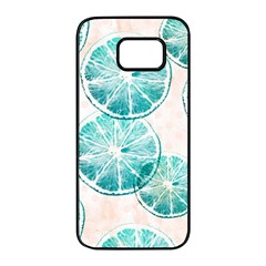 Turquoise Citrus And Dots Samsung Galaxy S7 Edge Black Seamless Case
