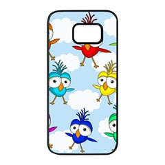 Cute colorful birds  Samsung Galaxy S7 edge Black Seamless Case
