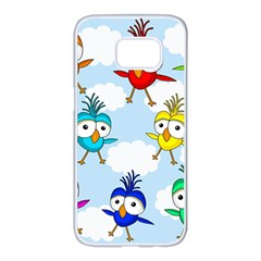 Cute colorful birds  Samsung Galaxy S7 edge White Seamless Case