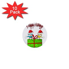 Cute Xmas birds 1  Mini Buttons (10 pack)