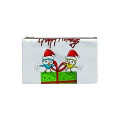 Cute Xmas birds Cosmetic Bag (Small)