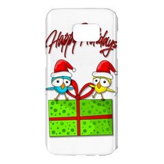 Cute Xmas birds Samsung Galaxy S7 Edge Hardshell Case