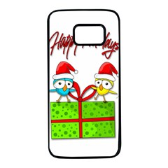 Cute Xmas birds Samsung Galaxy S7 Black Seamless Case