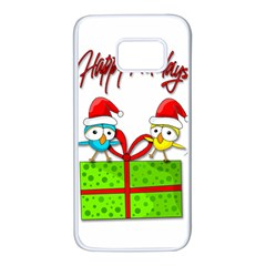 Cute Xmas birds Samsung Galaxy S7 White Seamless Case