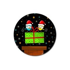 Cute Christmas birds Magnet 3  (Round)