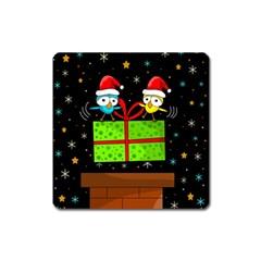 Cute Christmas birds Square Magnet