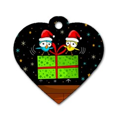 Cute Christmas birds Dog Tag Heart (Two Sides)
