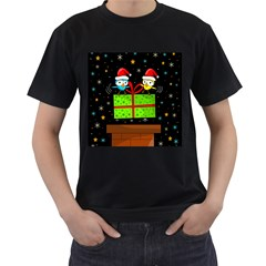 Cute Christmas birds Men s T-Shirt (Black)