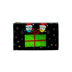 Cute Christmas birds Cosmetic Bag (Small)