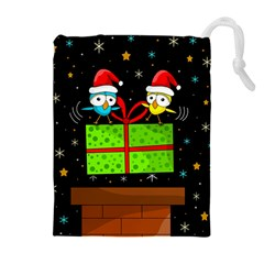Cute Christmas birds Drawstring Pouches (Extra Large)