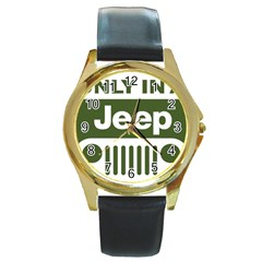 Only In A Jeep Logo Round Gold Metal Watch