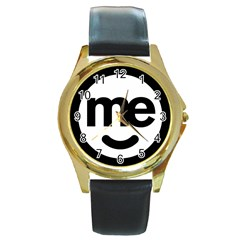 Me Logo Round Gold Metal Watch