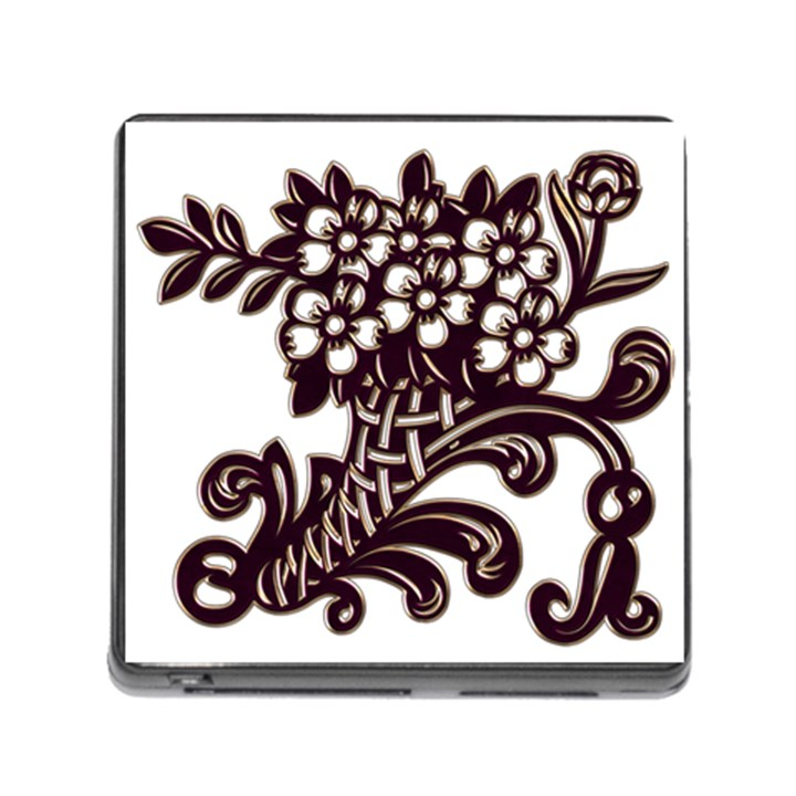 Purple Wood Ornaments Memory Card Reader (Square)