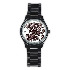 Purple Wood Ornaments Stainless Steel Round Watch