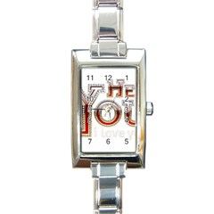 Hey You I Love You Rectangle Italian Charm Watch