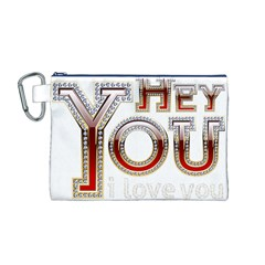 Hey You I Love You Canvas Cosmetic Bag (m)